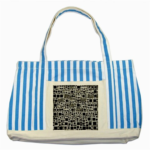 Block On Block, B&w Striped Blue Tote Bag