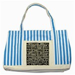 Block On Block, B&w Striped Blue Tote Bag Front