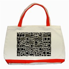 Block On Block, B&w Classic Tote Bag (red)