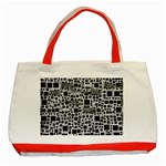 Block On Block, B&w Classic Tote Bag (Red) Front