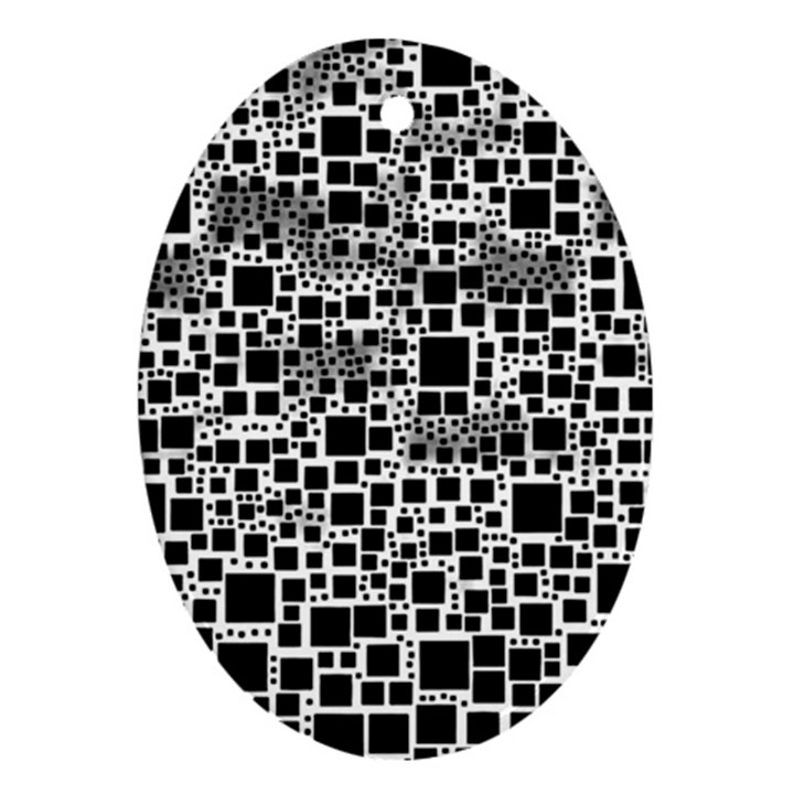 Block On Block, B&w Oval Ornament (Two Sides)