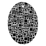 Block On Block, B&w Oval Ornament (Two Sides) Back