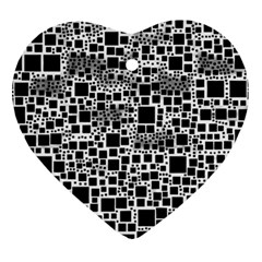 Block On Block, B&w Heart Ornament (2 Sides)