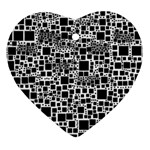 Block On Block, B&w Heart Ornament (2 Sides) Back