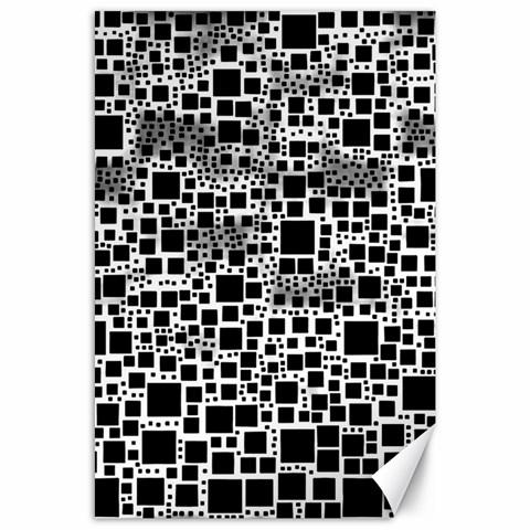 Block On Block, B&w Canvas 24  x 36