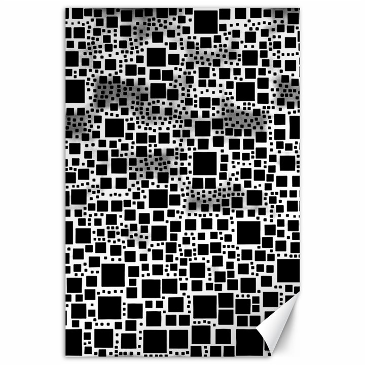 Block On Block, B&w Canvas 24  x 36