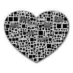 Block On Block, B&w Heart Mousepads Front