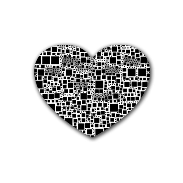Block On Block, B&w Rubber Coaster (Heart)