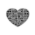 Block On Block, B&w Heart Coaster (4 pack)  Front