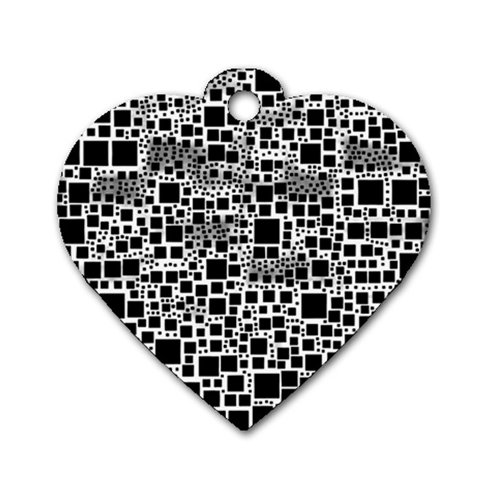 Block On Block, B&w Dog Tag Heart (One Side)