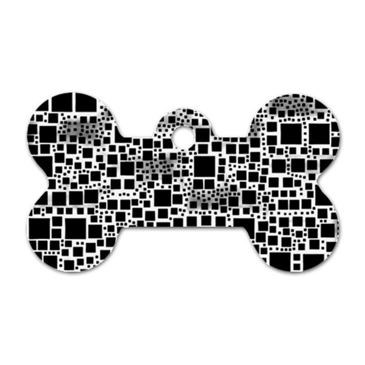 Block On Block, B&w Dog Tag Bone (One Side)