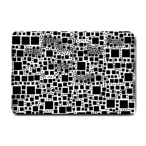 Block On Block, B&w Small Doormat