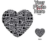 Block On Block, B&w Multi-purpose Cards (Heart)  Front 1