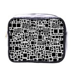 Block On Block, B&w Mini Toiletries Bags Front