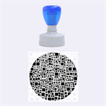 Block On Block, B&w Rubber Round Stamps (Medium) 1.5 x1.5  Stamp