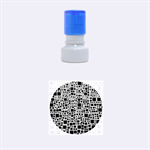 Block On Block, B&w Rubber Round Stamps (Small) 1.12 x1.12  Stamp