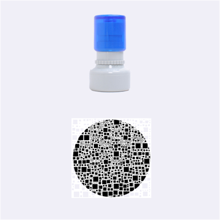 Block On Block, B&w Rubber Round Stamps (Small)