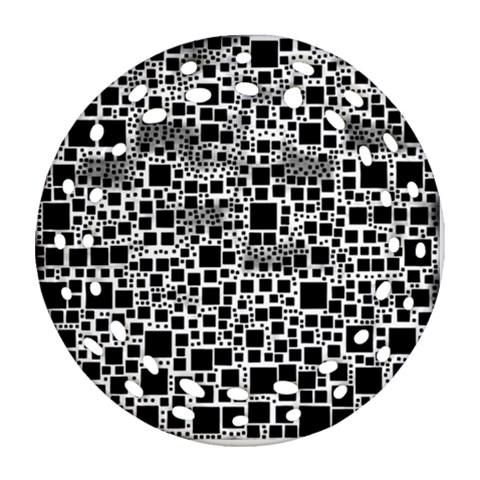 Block On Block, B&w Round Filigree Ornament (2Side)