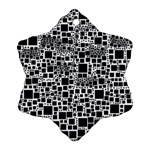 Block On Block, B&w Snowflake Ornament (2-Side) Back