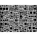 Block On Block, B&w Clover 3D Greeting Card (7x5) Front