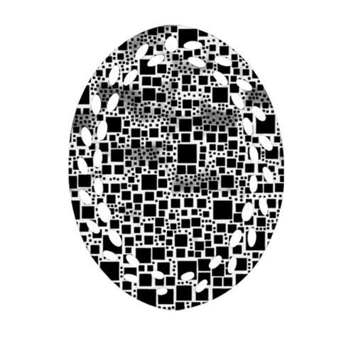 Block On Block, B&w Oval Filigree Ornament (2-Side)