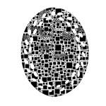 Block On Block, B&w Oval Filigree Ornament (2-Side)  Front