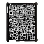 Block On Block, B&w Apple iPad 3/4 Case (Black) Front