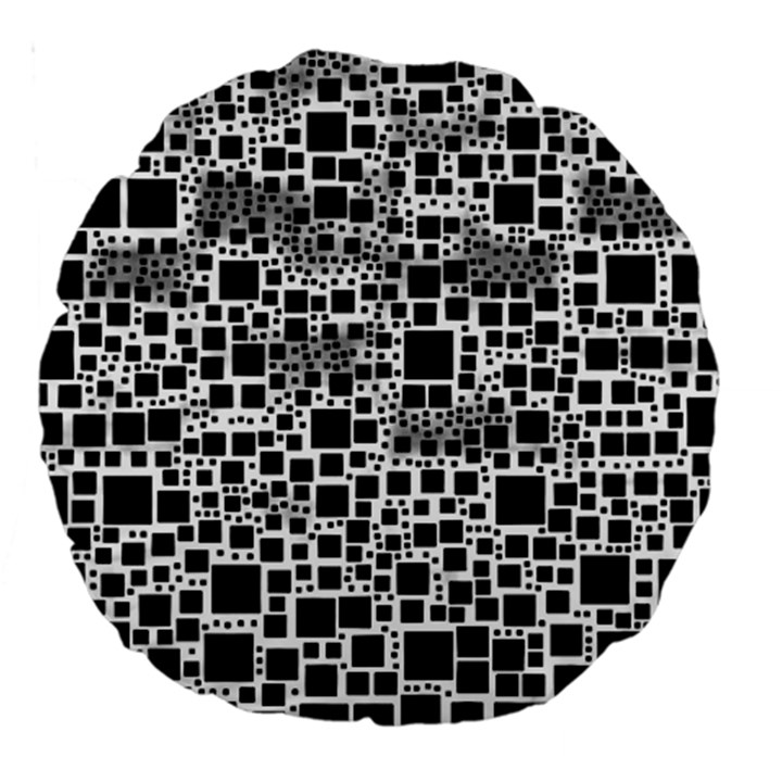 Block On Block, B&w Large 18  Premium Round Cushions