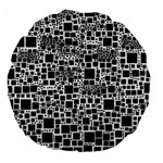 Block On Block, B&w Large 18  Premium Round Cushions Back