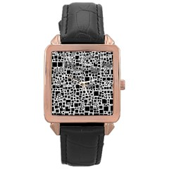 Block On Block, B&w Rose Gold Leather Watch
