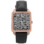 Block On Block, B&w Rose Gold Leather Watch  Front