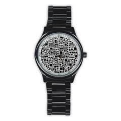 Block On Block, B&w Stainless Steel Round Watch