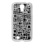 Block On Block, B&w Samsung GALAXY S4 I9500/ I9505 Case (White) Front