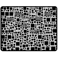 Block On Block, B&w Double Sided Fleece Blanket (Medium)