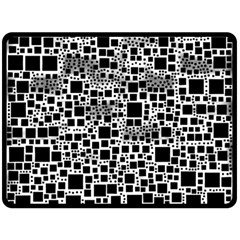 Block On Block, B&w Double Sided Fleece Blanket (Large)