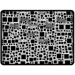 Block On Block, B&w Double Sided Fleece Blanket (Large)  80 x60 Blanket Back