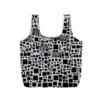 Block On Block, B&w Full Print Recycle Bags (S)  Back
