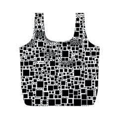 Block On Block, B&w Full Print Recycle Bags (m)