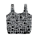 Block On Block, B&w Full Print Recycle Bags (M)  Back