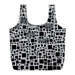 Block On Block, B&w Full Print Recycle Bags (L)  Front
