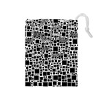 Block On Block, B&w Drawstring Pouches (Medium)  Front