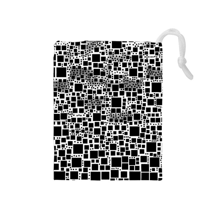 Block On Block, B&w Drawstring Pouches (Medium)