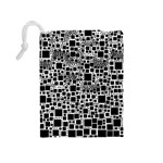 Block On Block, B&w Drawstring Pouches (Medium)  Back