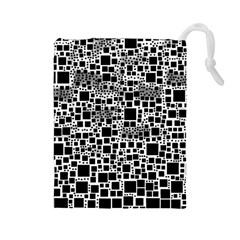 Block On Block, B&w Drawstring Pouches (Large)