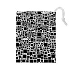 Block On Block, B&w Drawstring Pouches (Large)  Front