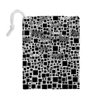 Block On Block, B&w Drawstring Pouches (Large)  Back