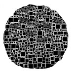 Block On Block, B&w Large 18  Premium Flano Round Cushions Front