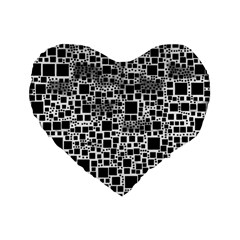 Block On Block, B&w Standard 16  Premium Flano Heart Shape Cushions