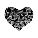 Block On Block, B&w Standard 16  Premium Flano Heart Shape Cushions Front
