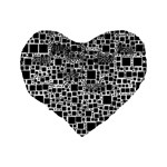 Block On Block, B&w Standard 16  Premium Flano Heart Shape Cushions Back